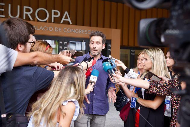Borja Sémper, atendiendo a los medios el pasado 13 de septiembre en