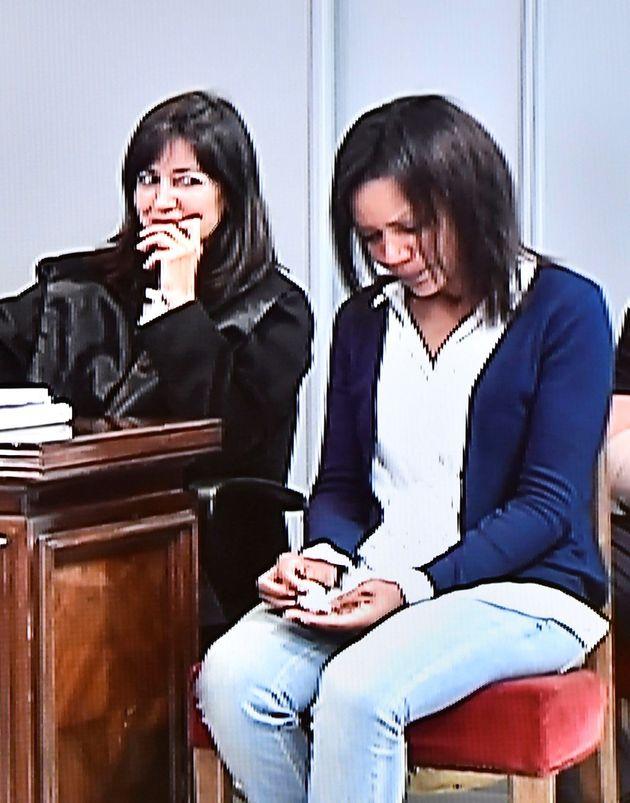 Fotografía realizada desde el monitor de la sala de prensa de la Audiencia provincial de Almería de Ana...