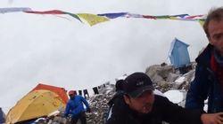 [네팔 대지진] 에베레스트 대규모 눈사태 순간의 긴박한 현장이 카메라에