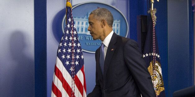 President Barack Obama walks away the podium after speaking in the Brady Press Briefing Room of the White...