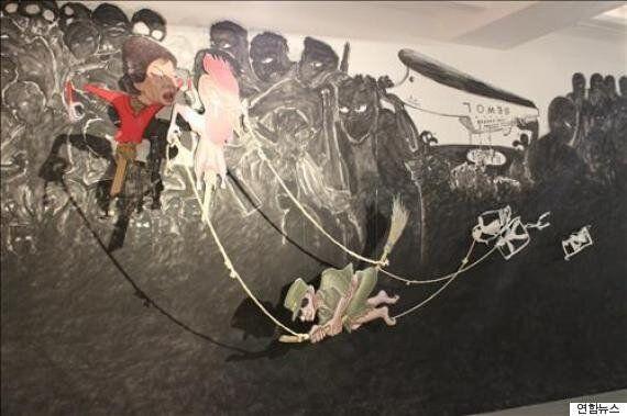 홍성담 독일서 '세월오월' 임시 개작