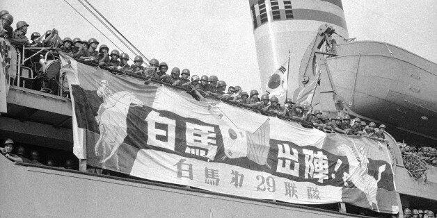 Troops of South Korea's 9th Infantry Division (White Horse Division) leave Pusan Port for South Viet...