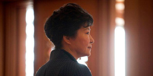 South Korea's President Park Geun-hye waits for the arrival of Prime Minister of the Czech Republic Bohuslav...