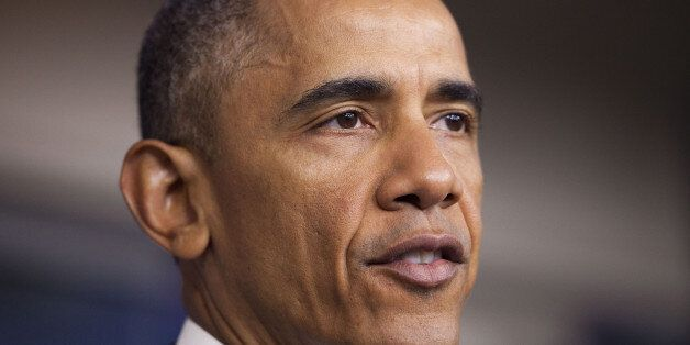 President Barack Obama speaks in the Brady Press Briefing Room of the White House in Washington, Thursday,...