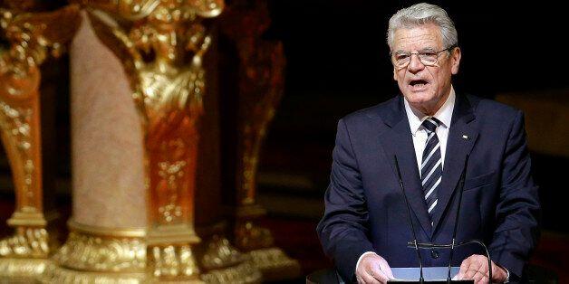 German President Joachim Gauck delivers a speech after an ecumenical service remembering the Armenian...