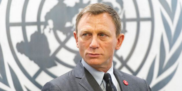 In this photo provided by the United Nations, English actor Daniel Craig attends a ceremony in New York...