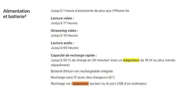 L'adaptateur de 18 W est vendu séparément de l'iPhone
