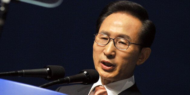 South Korean President Lee Myung-bak delivers a speech during a ceremony marking Liberation Day, the...