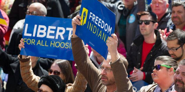 Thousands of opponents of Indiana Senate Bill 101, the Religious Freedom Restoration Act, gathered on...