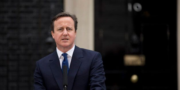 British Prime Minister David Cameron makes a speech to the media outside 10 Downing Street in London,...