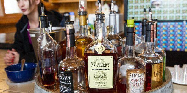Bottles of spirits are on display at the Prichard's Distillery in Nashville, Tenn., on Thursday, March...