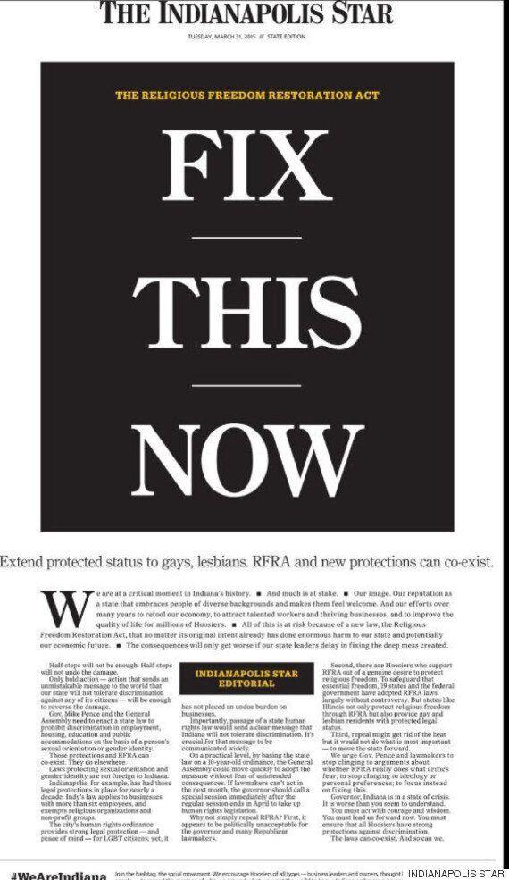 동성애차별법 제정한 인디애나주, 전 미국의 비난에 무릎