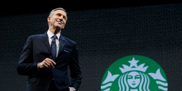Starbucks CEO Howard Schultz speaks Wednesday, March 18, 2015 at the coffee company's annual shareholders...