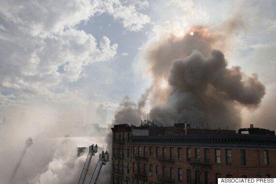 뉴욕 맨해튼 이스트빌리지 빌딩, 폭발음과 함께 화재(사진,