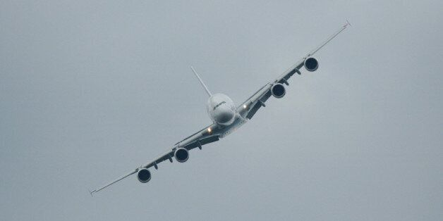 Head on view of the Airbus A380, Farnborough airshow