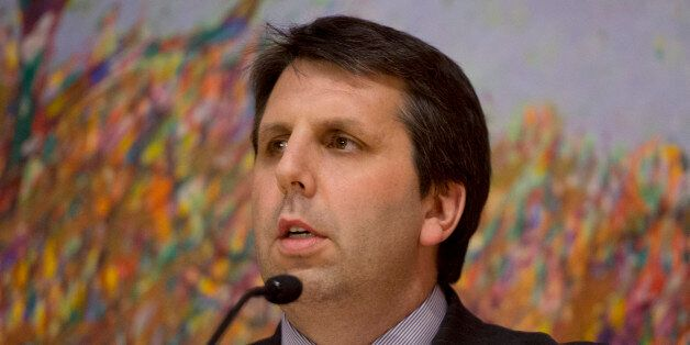 U.S. Ambassador to the Republic of Korea Mark Lippert makes remarks during a farewell reception hosted...