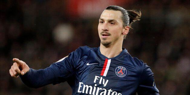 Paris Saint Germain's Zlatan Ibrahimovic gestures during their League One soccer match between Paris...