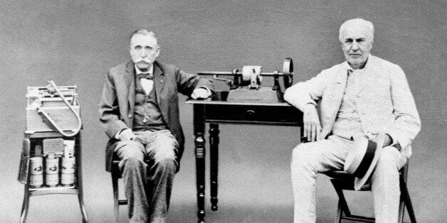 Inventor Thomas Edison, right, is seen with John Ott, who worked with Edison at his West Orange, N.J....