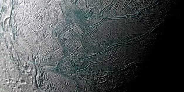 This image provided by NASA of Saturn's moon Enceladus was made by the Casini spacecraft during a fly-by...