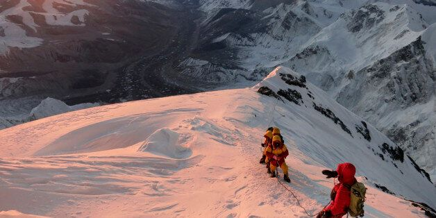 FILE - In this May 18, 2013 file photo released by mountain guide Adrian Ballinger of Alpenglow Expeditions,...