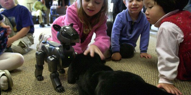 Arianna Stoltz, 5, center, introduces Shanti, a stuffed animal dog, to Aibo, a robotic dog, as Wing-Yee...