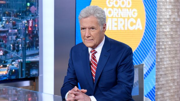 """GOOD MORNING AMERICA - Alex Trebek discusses his cancer diagnosis with Robin Roberts on """"Good Morning America,"""" Wednesday, May 1, airing on the Walt Disney Television Network.     (Photo by Paula Lobo/Walt Disney Television via Getty Images) ALEX TREBEK"""