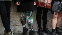 터키 남성들이 미니스커트를 입은