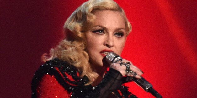 Madonna performs at the 57th annual Grammy Awards on Sunday, Feb. 8, 2015, in Los Angeles. (Photo by...