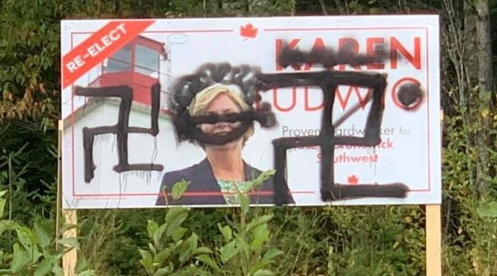Karen Ludwig's election sign was defaced over the weekend. The Liberal MP candidate found out about it on Sept. 16, 2019.