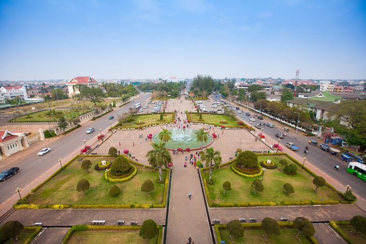 A cidade de Vientiane, no Laos.