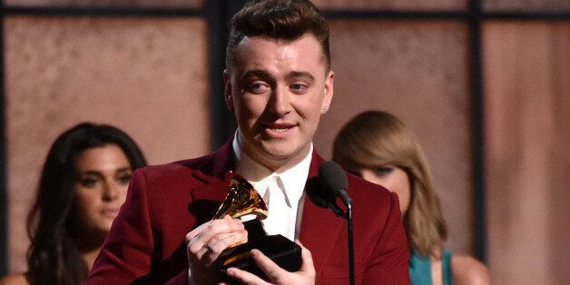 Sam Smith accepts the award for best new artist at the 57th annual Grammy Awards on Sunday, Feb. 8, 2015,...
