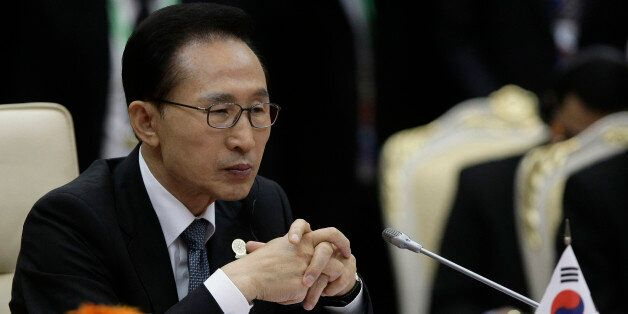 South Korea's President Lee Myung-bak attends the 15th ASEAN - South Korea Summit in Phnom Penh, Cambodia,...