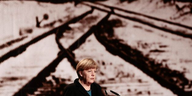 German Chancellor Angela Merkel delivers her speech during an event commemorating the 70th anniversary...