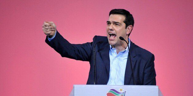 Alexis Tsipras, head of Greece's Syriza left wing main opposition delivers his pre-election campaign...