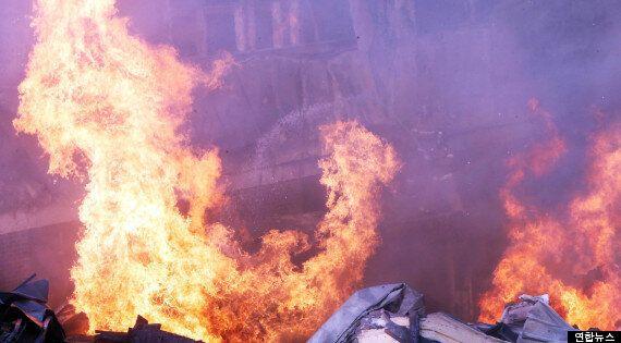 천안 부탄가스 공장서 큰 불, 8개 동