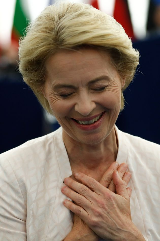 Ursula von der Leyen gestures after being elected as the new European Commission President at the European...