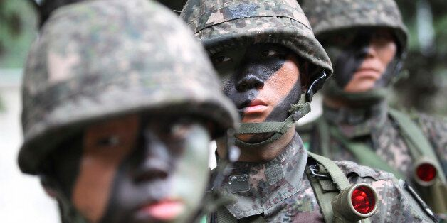 South Korean army soldiers take part in an anti-terror exercise as part of Ulchi Freedom Guardian in...