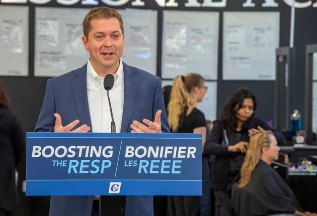 Federal Conservative leader Andrew Scheer speaks at a campaign event in Winnipeg on Sept. 17, 2019. Scheer...