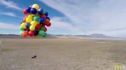 90개의 풍선으로 고도 2km 비행