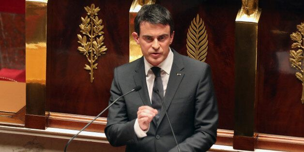 French prime minister Manuel Valls delivers his speech during an homage to the 17 victims of last week...