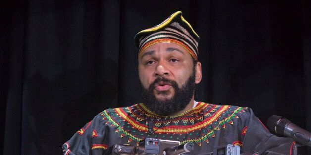 French comic Dieudonne M'Bala M'Bala speaks to the media during a press conference in a theater in Paris,...