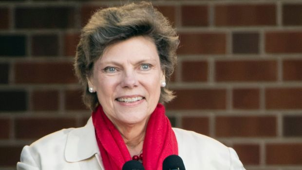 FILE- In this April 19, 2017, file photo, Cokie Roberts speaks during the opening ceremony for Museum of the American Revolution in Philadelphia. Roberts, a longtime political reporter and analyst at ABC News and NPR has died, ABC announced Tuesday, Sept. 17, 2019.  She was 75. (AP Photo/Matt Rourke)