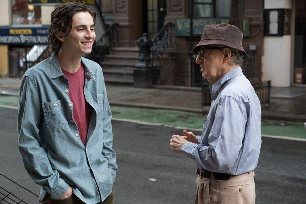 Timothée Chalamet et Woody Allen sur le tournage de