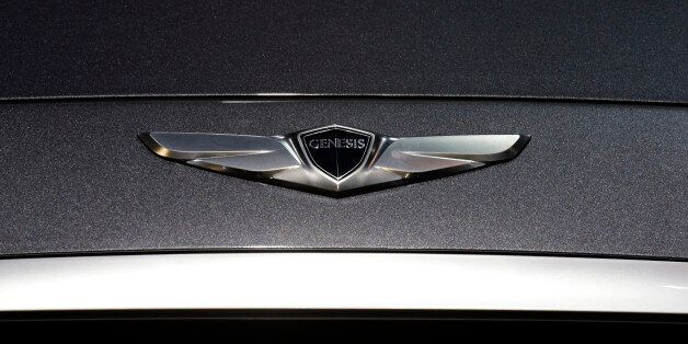 Logo of the Hyundai 2015 Genesis is displayed during the media preview of the Chicago Auto Show at McCormick...