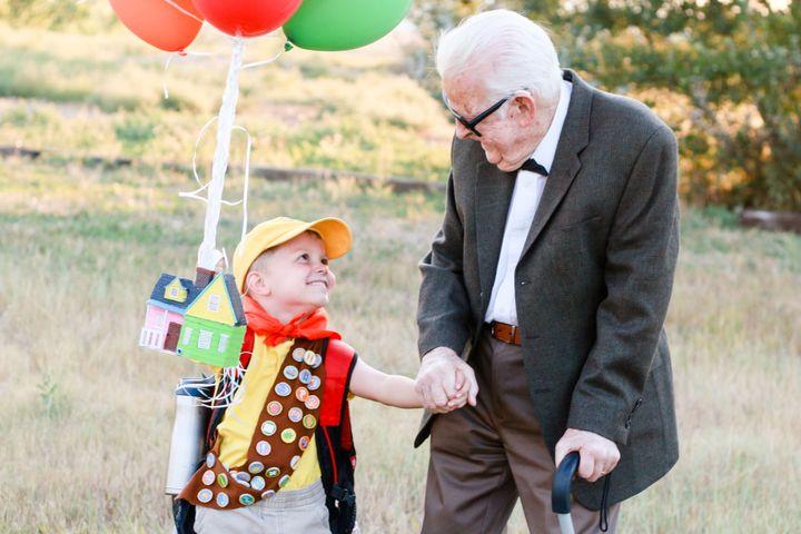 Elijah's great-grandpa Richard looks a lot less grumpy than Carl, but that's OK.