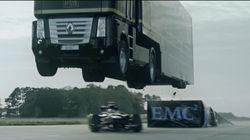 트럭으로 F1 레이싱카를