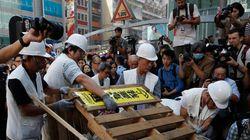 홍콩 점거시위 바리케이드 철거
