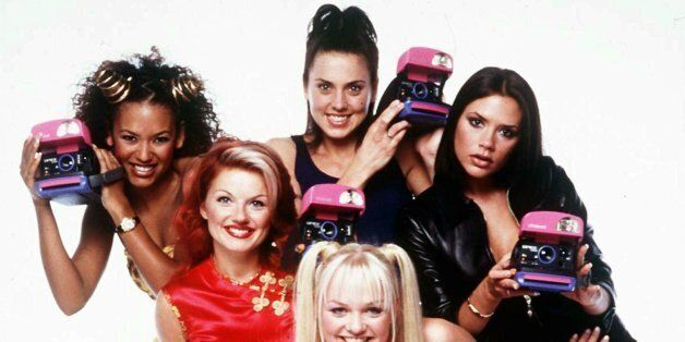 The Spice Girls, from left, Melanie Brown, Geri Halliwell, Melanie Chisholm, Emma Bunton, front, and...