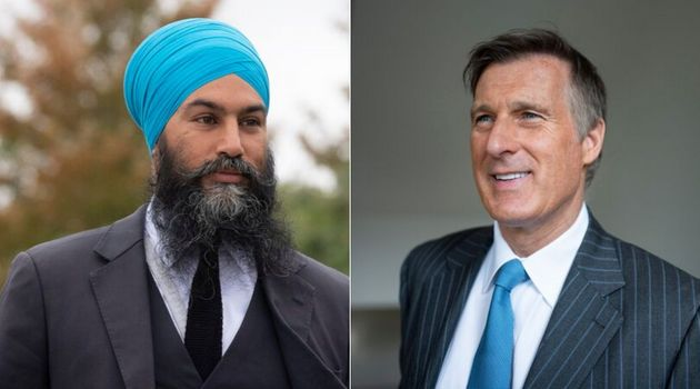 NDP Leader Jagmeet Singh and People's Party Leader Maxime Bernier are shown in a composite