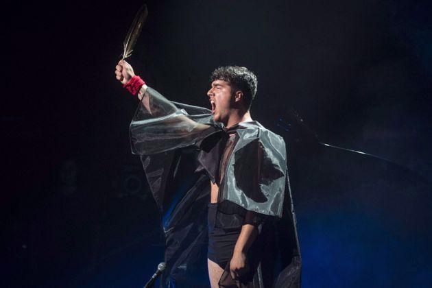 Jeremy Dutcher performs during the Polaris Music Prize gala in Toronto on September 17,